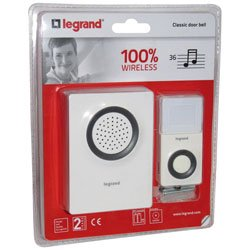 legrand leg94209 wireless doorbell with 36 tunes battery