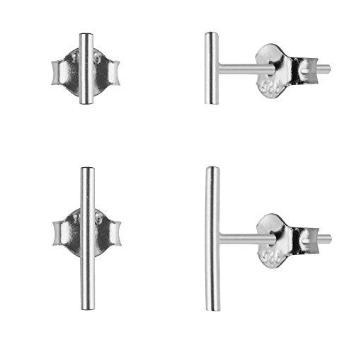 Sterling Silver Mini Bar Stud Earrings, 2 Pair-5mm 10mm