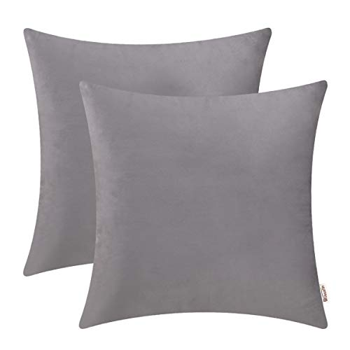 BRAWARM Cozy Throw Pillow Covers Cases for Couch Bed Sofa Solid Soft Fleece Cushion Covers Microfiber Short Velvet Pillowcases Both Sides for Home Decoration 20 X 20 Inches Neutral Gray Pack of 2 (Microfiber Couch Gray)