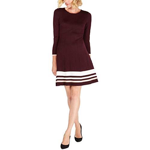 Jessica Howard Women's Long Sleeve Striped Fit + Flare Knit Dress, Wine, Petite Large (PL)