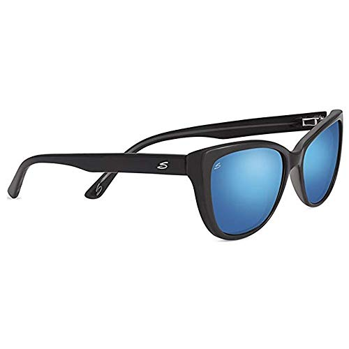 Serengeti 8280 Sophia Sunglasses, Shiny Black Frame, Polarized 555nm Blue Lens