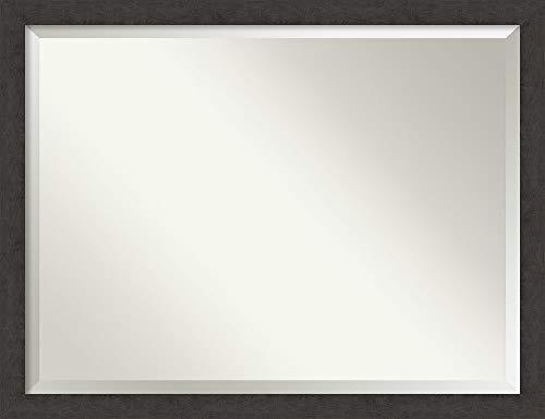 Plank Narrow - Amanti Art Vanity Bathroom Rustic Plank Espresso Narrow Frame   Wall Mounted Mirror, Glass Size 40x30,