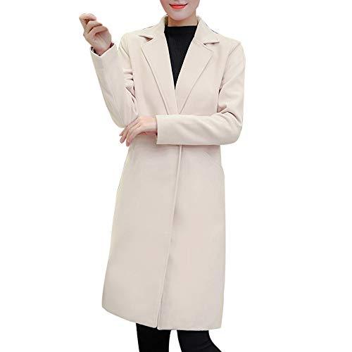 Toimoth Womens Lapel Open Front Wool Coat Pea Coat Winter Long Trench Jacket Big Pocket Overcoat (Beige,M) -