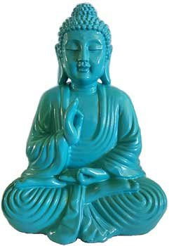 AzureGreen Home Décor Statues Buddha Hand in Vitarka Mudra Position Rich Turquoise Color 7 3/4 (Buddha Home Decor)