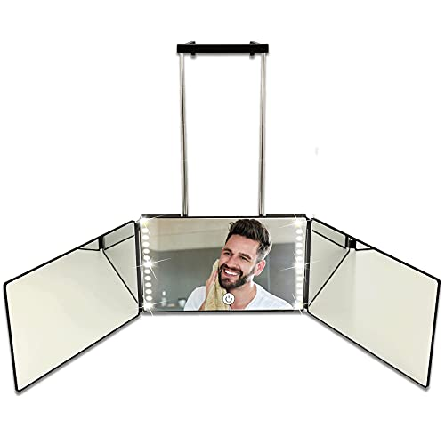 Rechargeable 3 Way Mirror for Self Hair Cutting, Trifold Door Mirror with LED Light and Height Adjustable Telescoping Hooks for DIY Haircuts