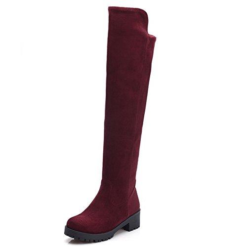 Heels Claret Ladies Leather On Pull Square BalaMasa Boots Platform Imitated qtwaxzO
