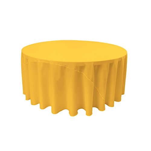 LA Linen Polyester Poplin Round Tablecloth, 120-Inch, Yellow, Dark