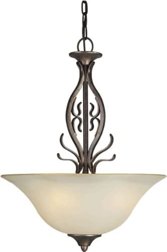 Forte Lighting 2605-03-27 Traditional 3-Light Pendant with Shaded Umber Glass, Black Cherry Finish