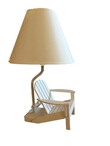 White Wood Adirondack Chair Table Lamp 13.5