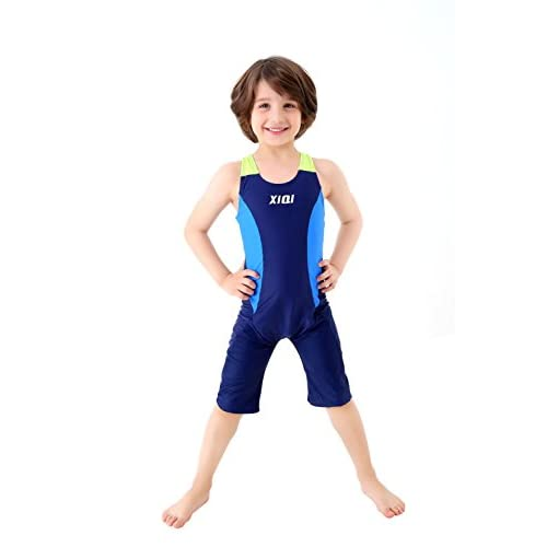 discount TenMet Boy Girl Professional Competitive One Piece Swimsuit Knee Length Swimwear