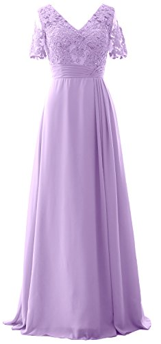 Formal the Dress Evening of Long MACloth Lavendel Short Mother Bride Sleeves Gown Lace FOSccfa