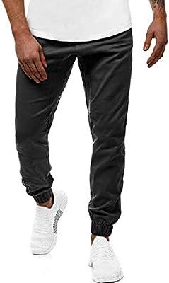 Suncolor8 Mens Regular Fit Drawstring Plain Casual Jogger Pants Pants Trousers