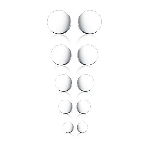 (Herinos Titanium Stud Earrings Set 5 Pairs Stainless Steel Round Earrings for Women Girls)