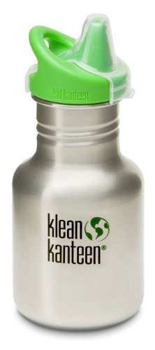 Klean Kanteen 12 oz Stainless Steel Water Bottle (Kid Kanteen Sippy Cap in Br...