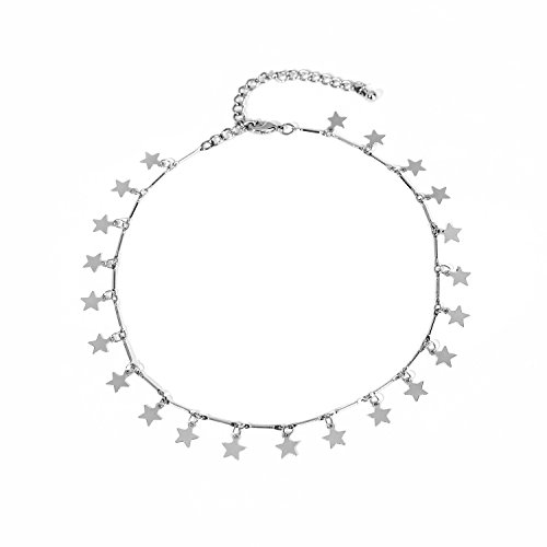 Jane Stone 14K Gold Dipped or Sterling Silver Lucky Star Choker Pendant Disc Chain Statement Necklace For Women Girls by Jane Stone