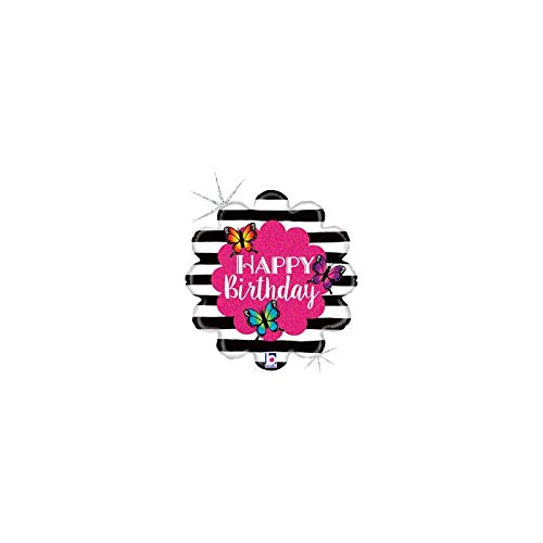 Happy Birthday Radiant Butterfly 18'' Mylar Balloon Pink Black & White Stripes Birthday Party Decorations Supplies