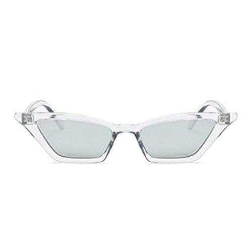 marco sol Gafas gato sol vintage retro mujeres de de Gafas vintage Plata de ojo plástico pequeñas Gafas Yefree de 7pPExwZqq