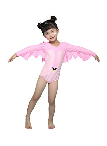 Delight Girls Swimsuits Long Sleeve Baby Girls Swimwear One Piece Clothing Pink 3-4 Years by Delight (Image #7)