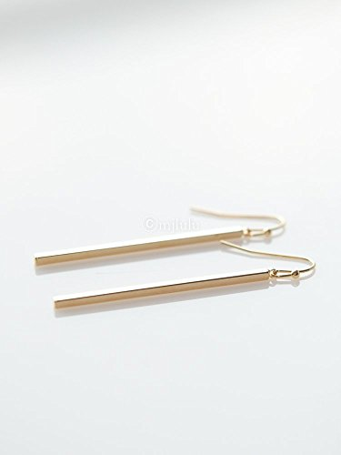 Minimal Simple Long Gold Plated Bar Dangle Earrings