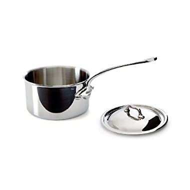 Mauviel Made In France M'Cook 5 Ply Stainless Steel 5210.19 2.7 Quart Saucepan with Lid, Cast Stainless Steel Handle