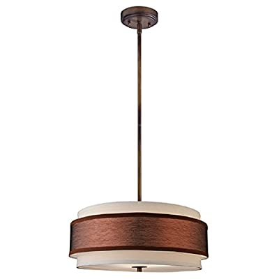 Bronze Drum Pendant Light with Two Shades
