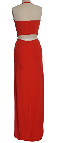 MACloth Women Halter Jersey Long Formal Evening Prom Dress Wedding Party Gown Rosa