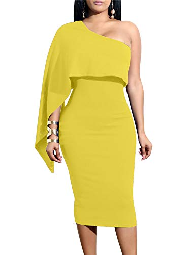 GOBLES Women's Summer Sexy One Shoulder Ruffle Bodycon Midi Cocktail Dress Yellow ()