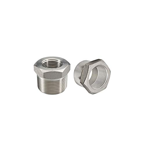 """Beduan Stainless Steel Reducer Hex Bushing, 3/4"""" Male NPT to 1/4"""" Female NPT, Reducing Cast Pipe Adapter Fitting (Pack of 2)"""