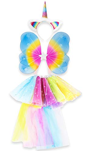 Unicorn Outfit for Girls Dress Up Includes Unicorn Headband, Rainbow Tutu and Fairy Wings. Fun, Ideal Gifts for Girls]()