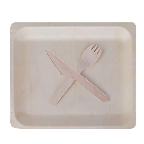 Gmark 10.5''x8.5'' Wooden Plates with Wooden Cutlery Set (25 Sets) for Party Events GM1098 by Gmark (Image #5)