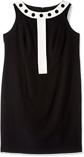 Nine West Women's Plus Size Dress W/ Grommets, Black/Lily, 18W