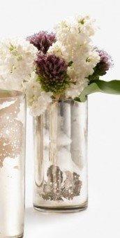 Serene Spaces Living Antique Silver Cylinder Vase, Handmade Mercury Glass Finish, Measures 4