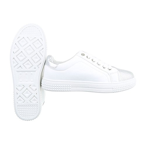 Ital-Design - Zapatillas de casa Mujer Weiß Silber FC8615