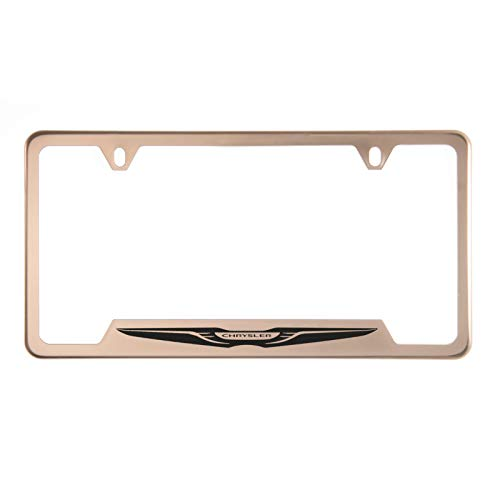 1x Laser Etched Chrysler Logo on Rose Gold Polish Bottom Cut Out Stainless Steel License Plate Frame Holder with Aluminum Screw Cap ()