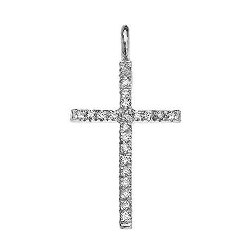Collier Femme Pendentif 14 Ct Or Blanc Oxyde De Zirconium Fine Croix (Livré avec une 45cm Chaîne)