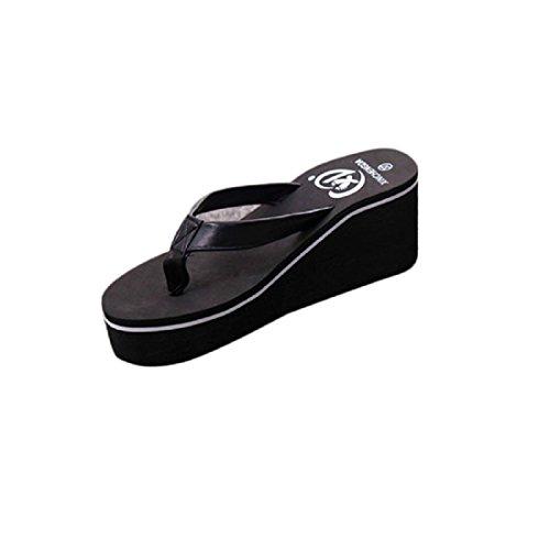 Tongshi Tirón del verano sandalias de las mujeres de Bohemia mollete pendiente con sandalias Negro