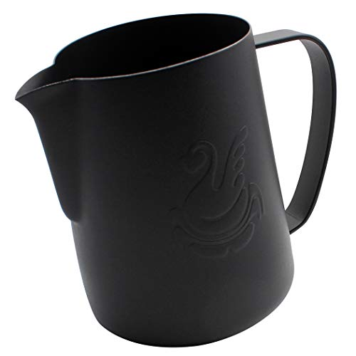 Dianoo Espresso Steaming Pitcher, Espresso Milk Frothing Pitcher Stainless steel, Coffee jug, Latte Art Cup 20 OZ (600ML) Black