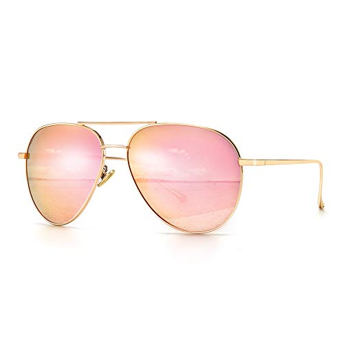SUNGAIT Women's Lightweight Oversized Aviator Sunglasses - Mirrored Polarized Lens (Light-Gold Frame/Pink Mirrored Lens, 60)1