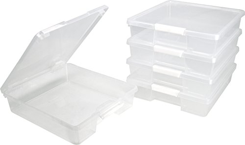 Storex Classroom Student Project Box, 12 x 12 Inches, Clear, Case of 5 (63209U05C) by Storex
