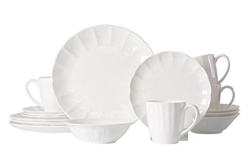 WhitePeony Petal 16-Piece Classic Durable Scallop Bone China Dinnerware Set, Elegant, Service for (Bone China Dinnerware Set)