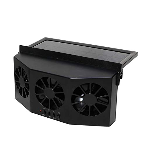 Liobaba Solar Powered Car Cool Cooler Fan Auto Front/Rear Window Air Vent Exhaust Fan Vehicle Radiator Vent with Ventilation
