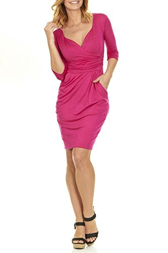 Seranoma Womens Basic V-Neck Sleeve Dress - 3/4 Sleeve Wrap Pencil Dress with Pockets(L,Fuschia)