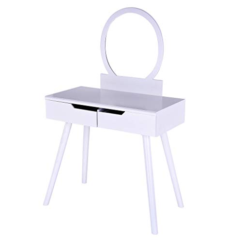 Sonmer Vanity Set with Mirror, Cushioned Stool, Storage Shelves, Drawers Dividers ,3 Style Optional, Shipped from US - Two Day Shipping (#2, White) by Sonmer (Image #7)