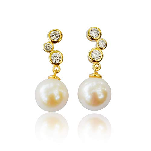 (10K Gold Dangling Earrings White Freshwater Cultured Pearl with 3 Round Cubic Zirconia)