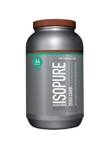 Isopure Zero Carb Protein Powder, 100% Whey Protein Isolate, Flavor: Mint Chocolate Chip, 3 Pounds (Packaging May Vary) ()