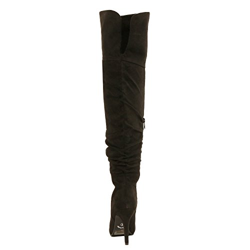 33 Suede Link Black Fashion Boots Over Focus On Knee Forever Women's High Pull Stylish Sexy 6BdEEqnp