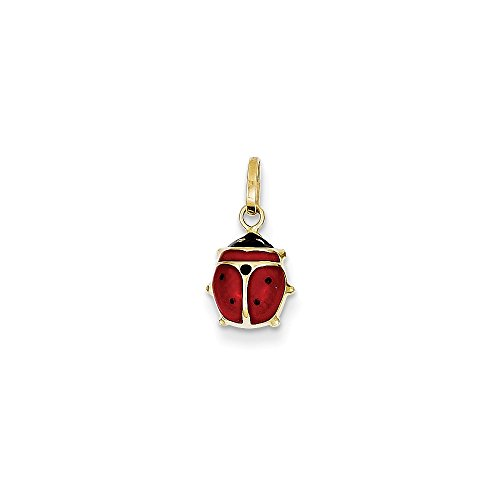 14k Enameled Ladybug Charm - Measures 10x6mm - - Polished Enameled Ladybug