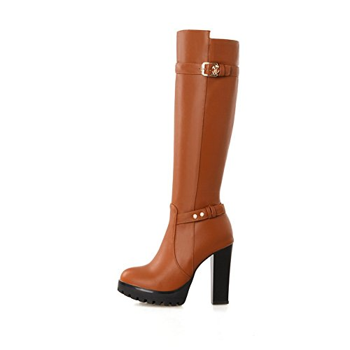 Heels Urethan Stiefel Damen High 1TO9 Reißverschluss Gelb Plattform qvt1vw