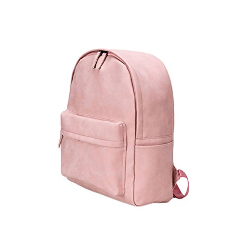 Backpack Style Leather Shoulder Bag To Original College Women Leisure Travel Bag Big Lady (black Blue Pink) Pink