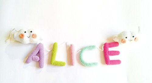 amazon com baby name banner crochet custom name banner for nursery